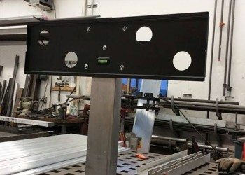Custom TV Stand With Diamond Plate Base