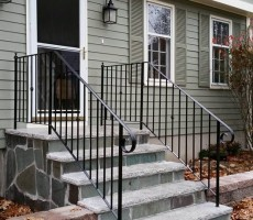 Wrought Iron Railing With Lambs Tongue Top Rail